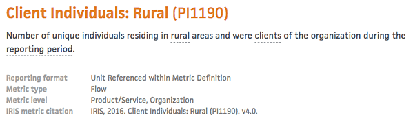 IRIS metrics for social performance